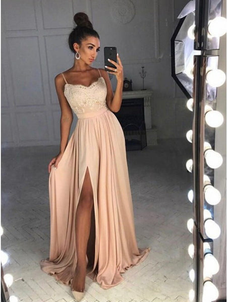 A Line Spaghetti Straps Lace Pink Prom Dresses, Pink Formal Dresses, Day Dresses