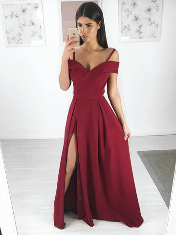 A Line Spaghetti Straps Off Shoulder Burgundy Long Prom Dresses with Side Slit, Burgundy Long Evening Dresses, Formal Dresses, Graduation Dresses