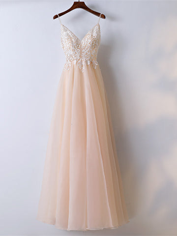 A Line Spaghetti Straps V Neck Lace Pink Prom Dresses, Pink Lace Formal Dresses, Evening Dresses
