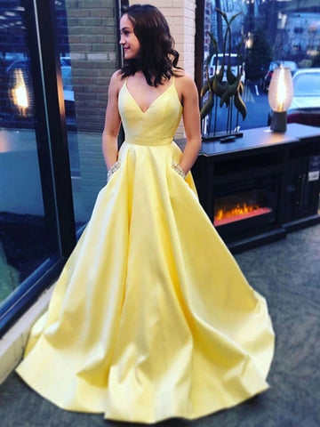 A Line Spaghetti Straps Yellow V Neck Satin Long Prom Dresses with Pockets, V Neck Yellow Formal Graduation Evening Dresses