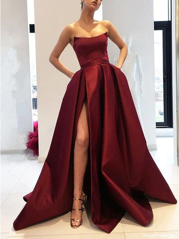 A Line Strapless High Slit Burgundy/Pink/Black Prom Dresses, High Slit Formal Dresses, Graduation Dresses