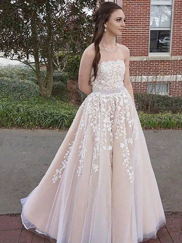 A Line Strapless Sleeveless Floor-Length Applique Lace Champagne Prom Dress, Champagne Lace Formal Dress