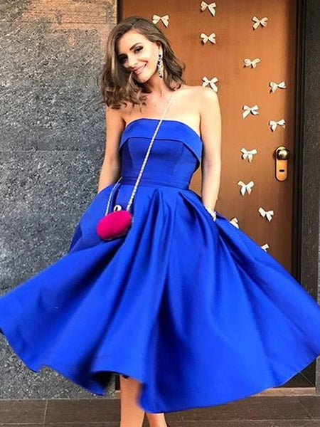 A Line Strapless Tea Length Royal Blue Satin Prom Dresses with Pockets, Royal Blue Homecoming Dresses, Formal Dresses, Evening Dresses