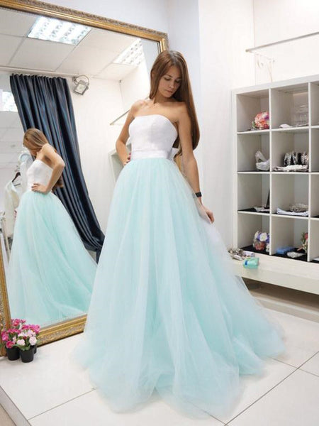 A Line Strapless Two Pieces Floor Length Lace Light Blue Prom Dresses, Blue Formal Dresses