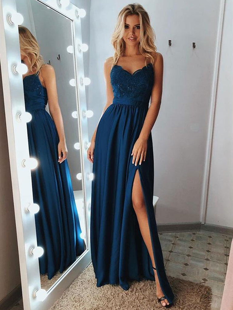 A Line Sweetheart Neck Backless Lace Blue Prom Dresses with Leg Slit, Blue Lace Formal Dresses, Lace Blue Evening Dresses