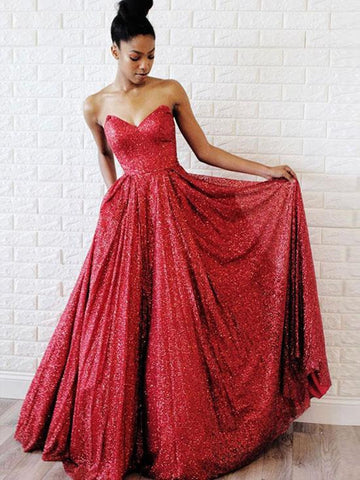 A Line Sweetheart Neck Burgundy Sequins Long Prom Dresses, Burgundy Evening Dresses, Formal Dresses
