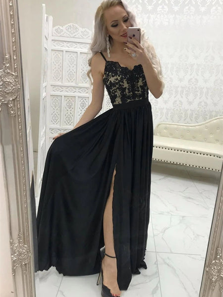 A Line Sweetheart Neck Lace Long Black Prom Dresses with Split, Black Lace Formal Graduation Evening Dresses, Black Party Dresses