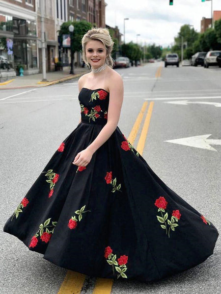 A Line Sweetheart Neck Satin Black Long Prom Dresses with Embroidery Flowers, Black Formal Dresses