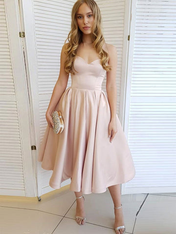 A Line Sweetheart Neck Strapless Tea Length Champagne Prom Dresses Homecoming Dresses, Strapless Pink Formal Graduation Evening Dresses