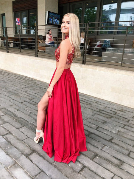 A Line Two Pieces High Neck Red Prom Dresses, 2 Pieces Red Graduation Dresses, Formal Dresses