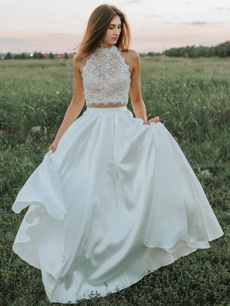 A Line Two Pieces Lace White Prom