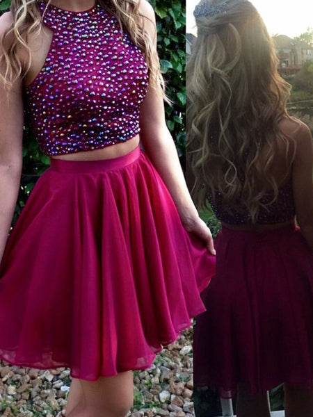A Line Two Pieces Scoop Neck Prom Dress, Two Pieces Homecoming Dress, Graduation Dress