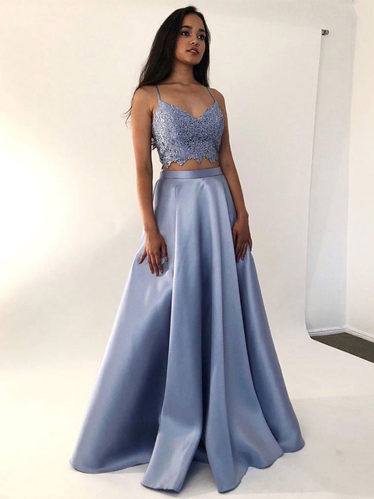 A Line V Neck 2 Pieces Lace Blue Long Prom Dresses, Two Pieces Blue Formal Dresses, Lace Blue Evening Dresses
