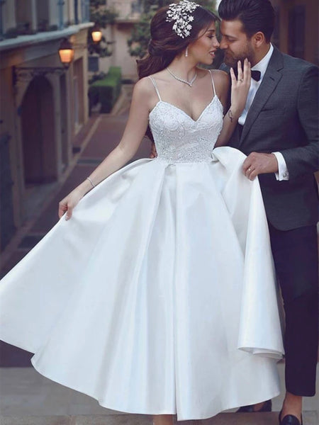 A Line V Neck Ankle Length Lace White Prom Weding Dresses, V Neck Lace White Formal Dresses, White Lace Evening Dresses