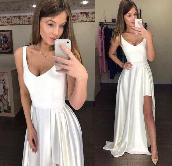 A Line V Neck Asymmetry Floor Length Red/White Prom Dresses with Pleats, V Neck Red/White Formal Evening Dresses, Graduation Dresses