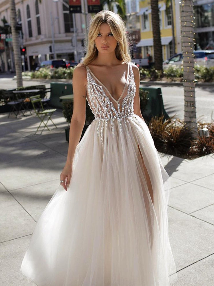 86e80f1b5b4c A Line V Neck Backless Beaded Ivory Prom Dresses Wedding Dresses with High .