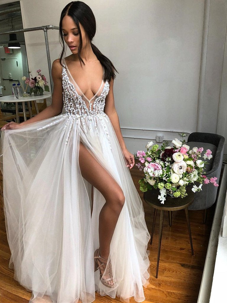 A Line V Neck Backless Beaded Ivory Prom Dresses Wedding Dresses with High Slit, Backless Ivory Formal Dresses, Evening Dresses