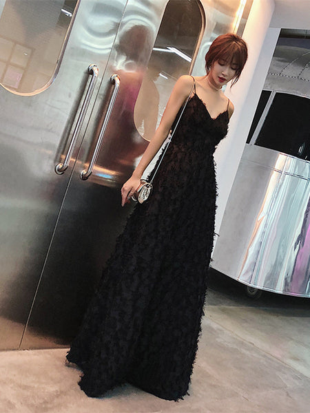 A Line V Neck Backless Black Lace Long Prom Dresses, Lace Black Formal Dresses, Evening Dresses