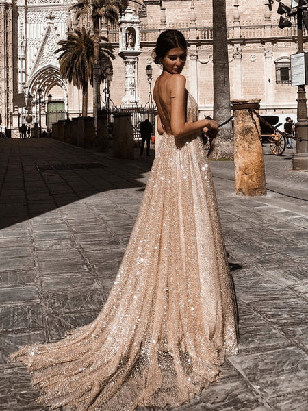 A Line V Neck Backless Champagne Long Sparkling Prom Dresses, Champagne Prom Gown, Formal Dresses