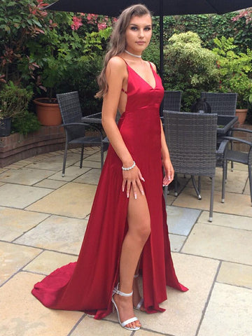 A Line V Neck Backless High Split Burgundy Prom Dresses, Backless Burgundy Formal Dresses, Burgundy Evening Dresses