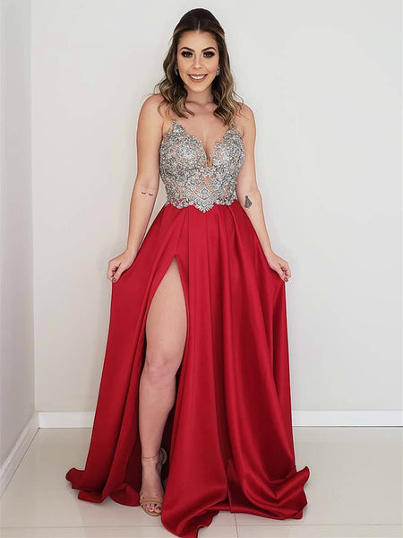 A Line V Neck Backless Lace Appliques Red/Light Blue Prom Dresses with Slit, Lace Backless Red/Light Blue Formal Dresses, Lace Evening Dresses