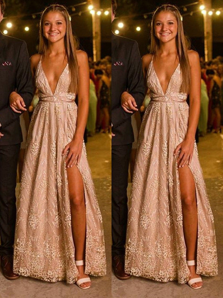 A Line V Neck Backless Lace Champagne Long Prom Dresses with Leg Slit, Backless Formal Dresses, Lace Graduation Evening Dresses