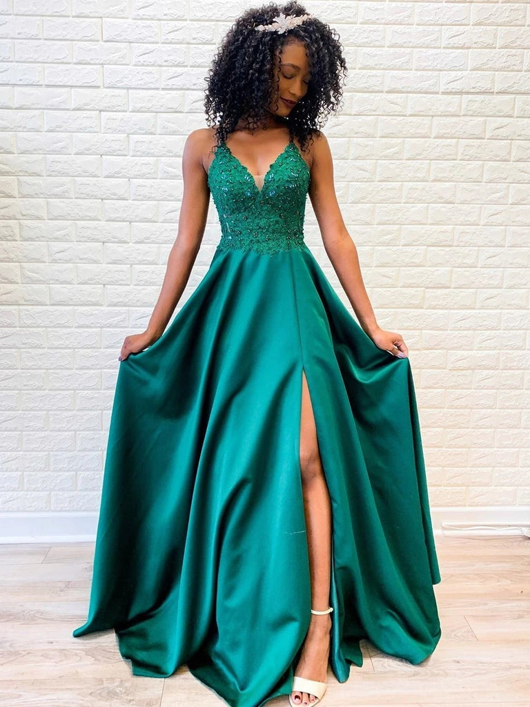 A Line V Neck Backless Lace Green Prom Dresses with Split, Backless Green Lace Formal Dresses, Green Lace Evening Dresses