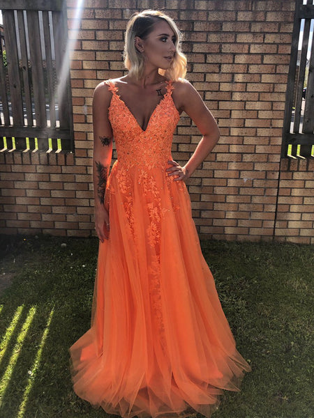 A Line V Neck Backless Lace Yellow Prom Dresses, V Neck Lace Formal Dresses, Yellow Lace Evening Dresses