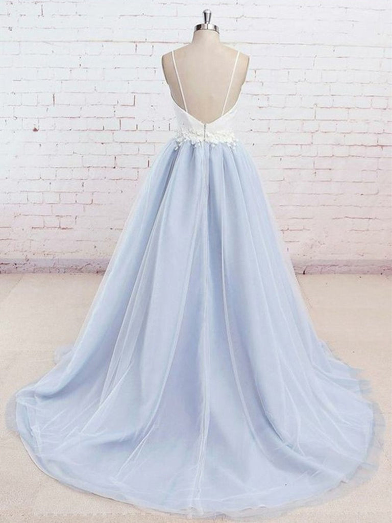 6fa22c71825 ... A Line V Neck Backless Light Blue Tulle Long Prom Dresses with White Lace  Appliques