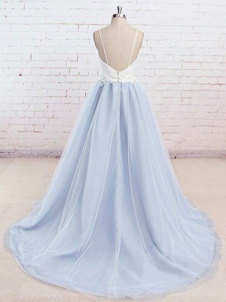 A Line V Neck Backless Light Blue Tulle Long Prom Dresses with White Lace Appliques, Light Blue Graduation Dresses, Light Blue Formal Evening Dresses