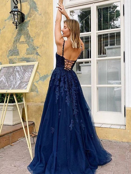 A Line V Neck Backless Navy Blue Lace Long Prom Dresses, Open Back Navy Blue Lace Formal Dresses, Navy Blue Lace Evening Dresses