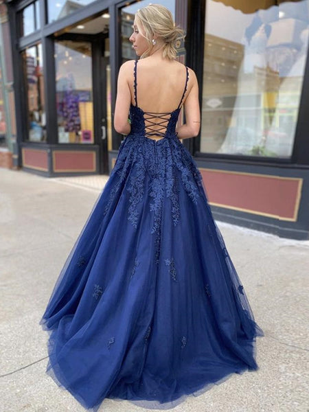 A Line V Neck Backless Navy Blue Lace Prom Dresses 2020, Backless Navy Blue Lace Formal Dresses, Navy Blue Lace Evening Dresses