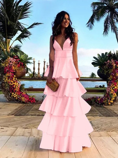 A Line V Neck Backless Navy Blue/Pink Long Prom Dresses, Backless Navy Blue/Pink Formal Dresses, Evening Dresses