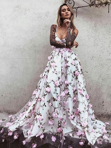 A Line V Neck Backless Pink Lace Floral White Prom Dresses, Pink 3D Flower White Formal Dresses, Evening Dresses