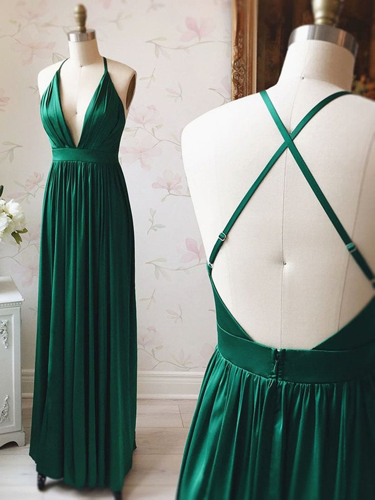 A Line V Neck Backless Pleated Emerald Green Long Prom Dresses, V Neck Backless Emerald Green Formal Graduation Evening Dresses