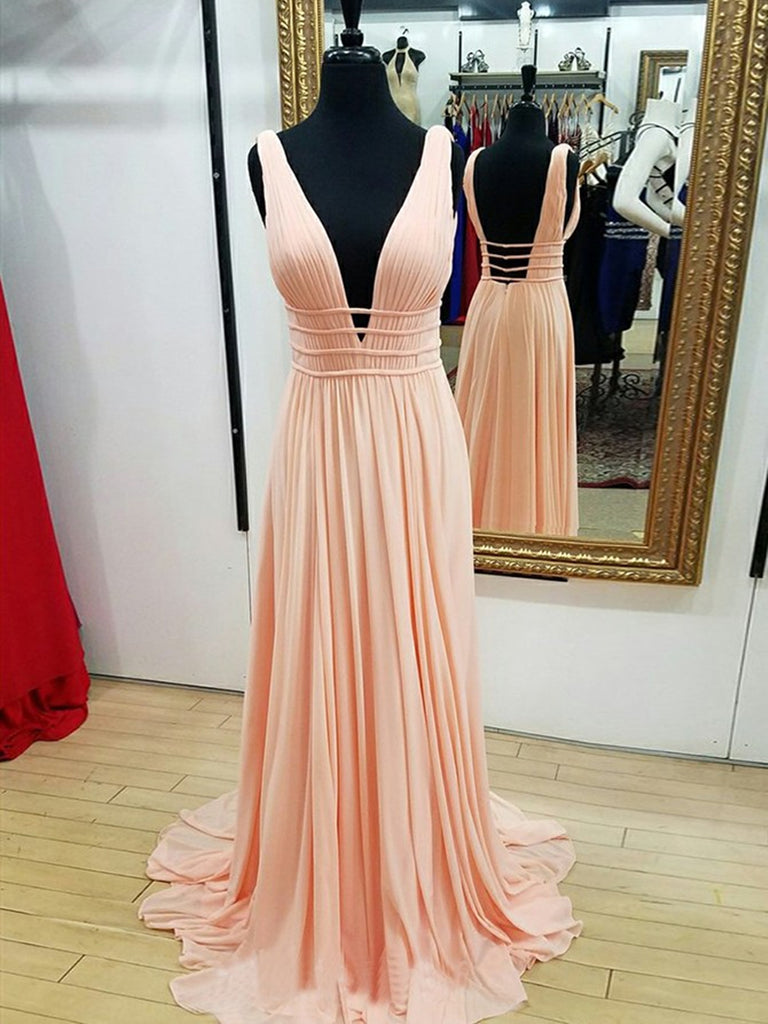 A Line V Neck Backless Pleated Pearl Pink/Navy Blue Chiffon Long Prom Dresses, Pink/Navy Blue Formal Graduation Evening Dresses