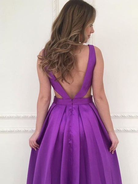 A Line V Neck Backless Purple Satin Long Prom Dresses, Backless Purple Ball Gown, V Neck Purple Formal Graduation Evening Dresses