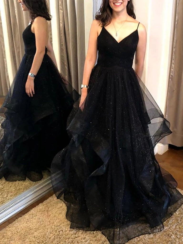 A Line V Neck Backless Sequins Black Long Prom Dresses, Backless Black Formal Dresses, Black Evening Dresses