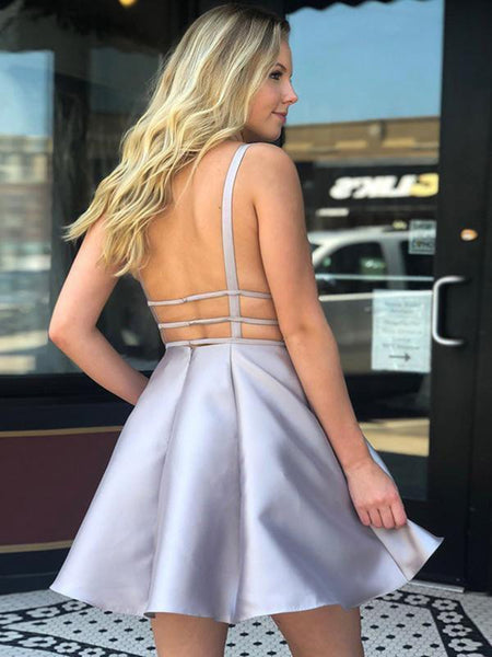 A Line V Neck Backless Silver Gray Short Prom Dresses Homecoming Dresses, Backless Silver Satin Formal Graduation Evening Dresses