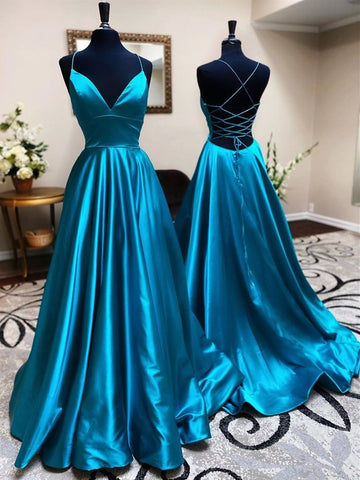 A Line V Neck Backless Teal Satin Long Prom Dresses, Open Back V Neck Blue Formal Graduation Evening Dresses