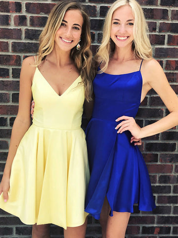 A Line V Neck Backless Yellow/Royal Blue Short Prom Dresses Homecoming Dresses, Backless Royal Blue/Yellow Formal Graduation Evening Dresses