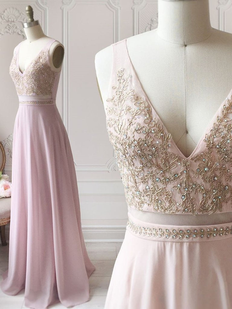 A Line V Neck Beaded Lace Pink Long Prom Dresses, Pink Lace Formal Dresses, Pink Evening Dresses, Bridesmaid Dresses