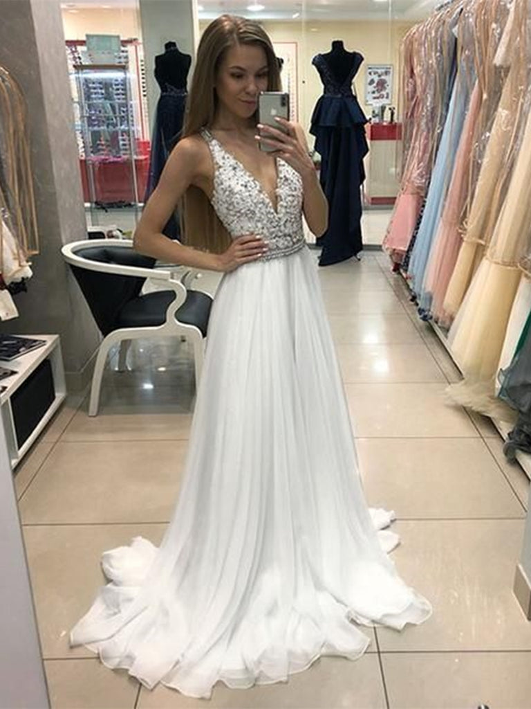 A Line V Neck Beaded Long White Lace Prom Dresses with Belt, V Neck White Lace Formal Dresses, Lace White Evening Dresses