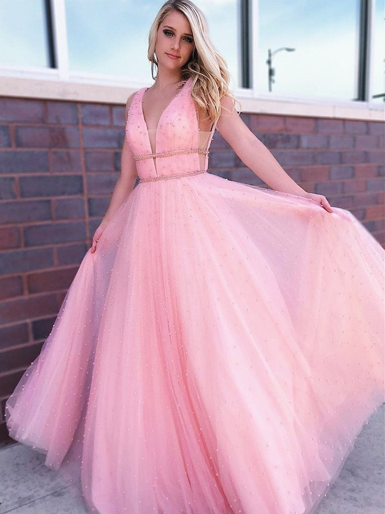A Line V Neck Beaded Tulle Long Pink Prom Dresses with Beadings, V Neck Pink Formal Dresses, Pink Evening Dresses