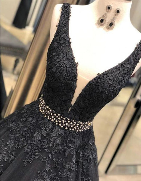 A Line V Neck Black Lace Long Prom Dresses, Lace Black Formal Dresses, Black Evening Dresses
