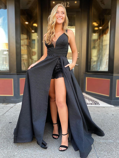 A Line V Neck Black Satin Long Prom Dresses with High Slit, V Neck Black Formal Graduation Evening Dresses