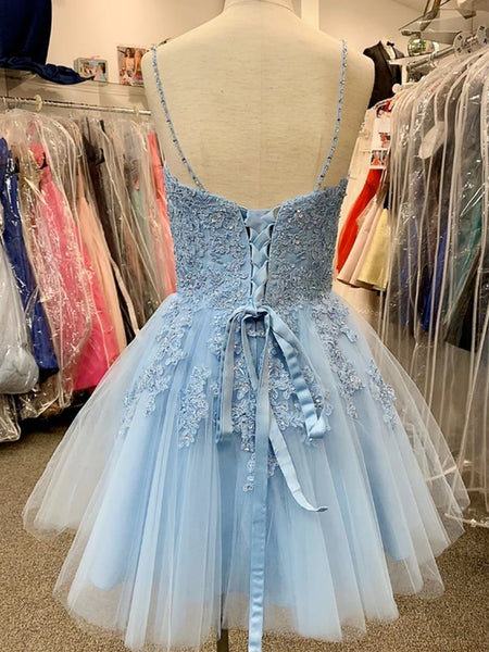 A Line V Neck Blue Lace Appliques Short Prom Dresses Homecoming Dresses, Blue Lace Formal Graduation Evening Dresses