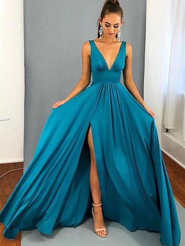 A Line V Neck Blue Long Prom Dresses with Leg Slit, V Neck Blue Graduation Dresses, Blue Bridesmaid Dresses