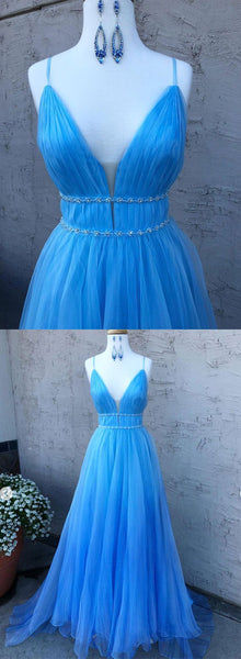 A Line V Neck Blue Long Prom Dresses with Thin Belt, Blue Formal Dresses, Evening Dresses