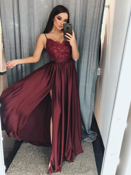 A Line V Neck Burgundy Lace Prom Dresses with Side Slit, Burgundy Lace Graduation Dresses, Burgundy Lace Formal Dresses